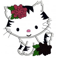 Little Kitten with Spots Applique Machine Embroidery Digitized Design Pattern