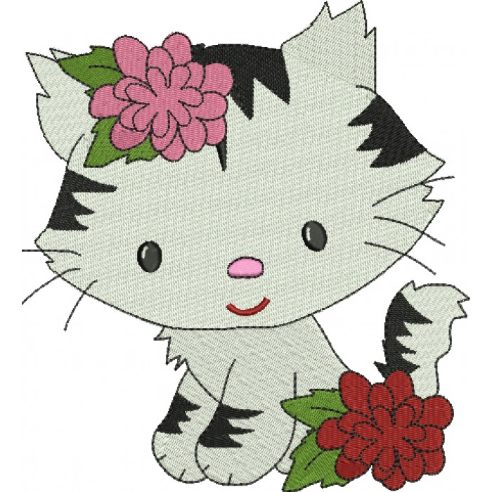 Little Kitten with Spots Filled Machine Embroidery Digitized Design Pattern