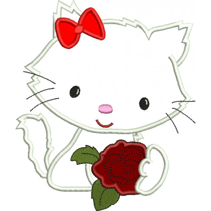 Little Kitten with a Rose Applique Machine Embroidery Digitized Design Pattern