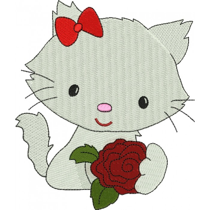 Little Kitten with a Rose Filled Machine Embroidery Digitized Design Pattern