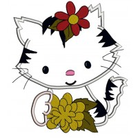 Little Kitten with a big flower Applique Machine Embroidery Digitized Design Pattern