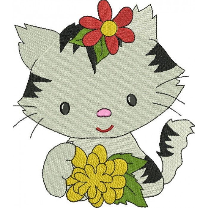 Little Kitten with a big flower Filled Machine Embroidery Digitized Design Pattern