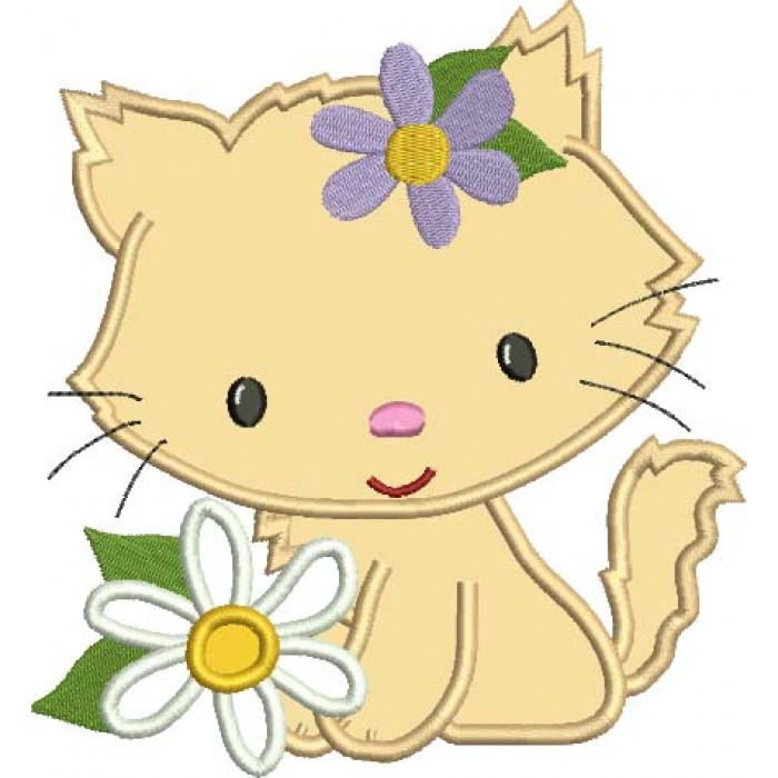 Little Kitten with a flower Applique Machine Embroidery Digitized Design Pattern