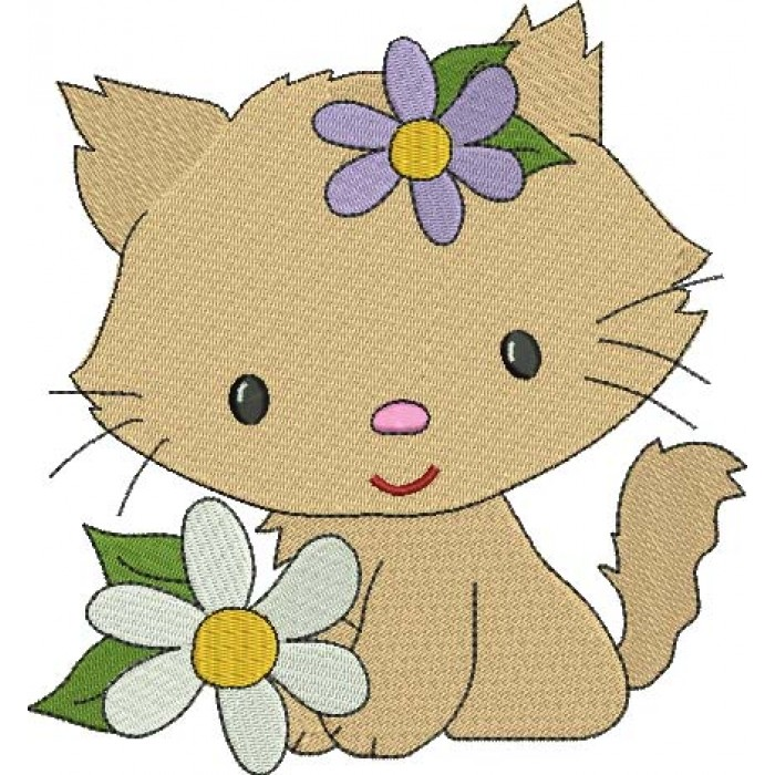 Little Kitten with a flower Filled Machine Embroidery Digitized Design Pattern