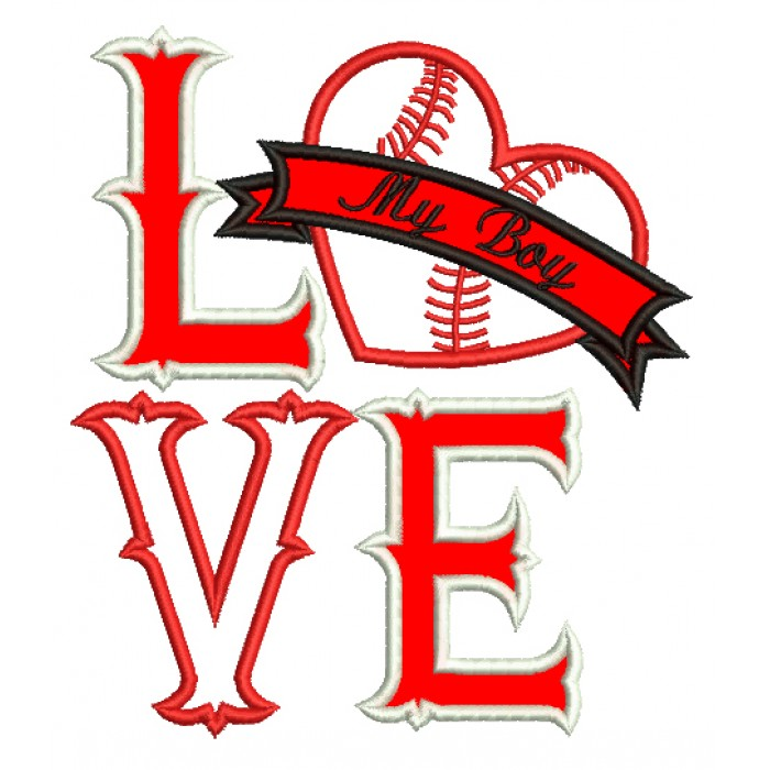 Love My Boy Baseball Heart Applique Machine Embroidery Digitized Design Pattern