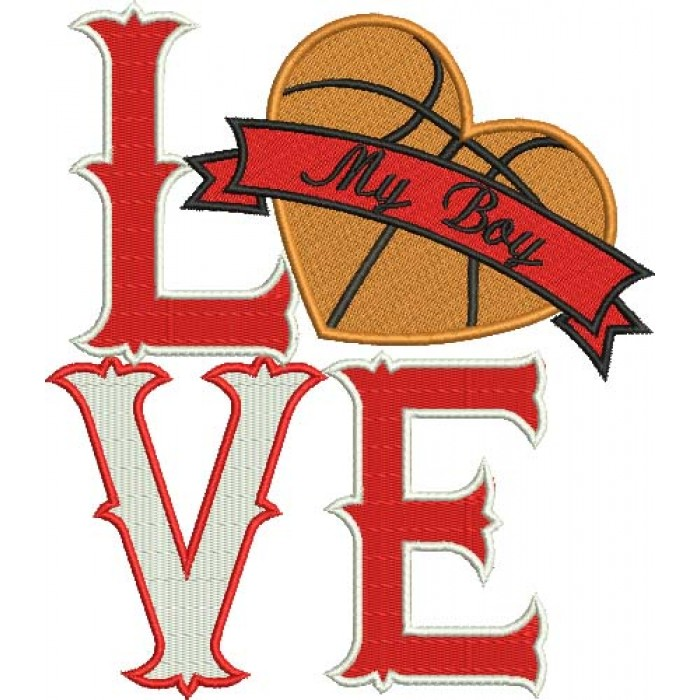 Love My Boy Basketball Heart Sports Filled Machine Embroidery Digitized Design Pattern