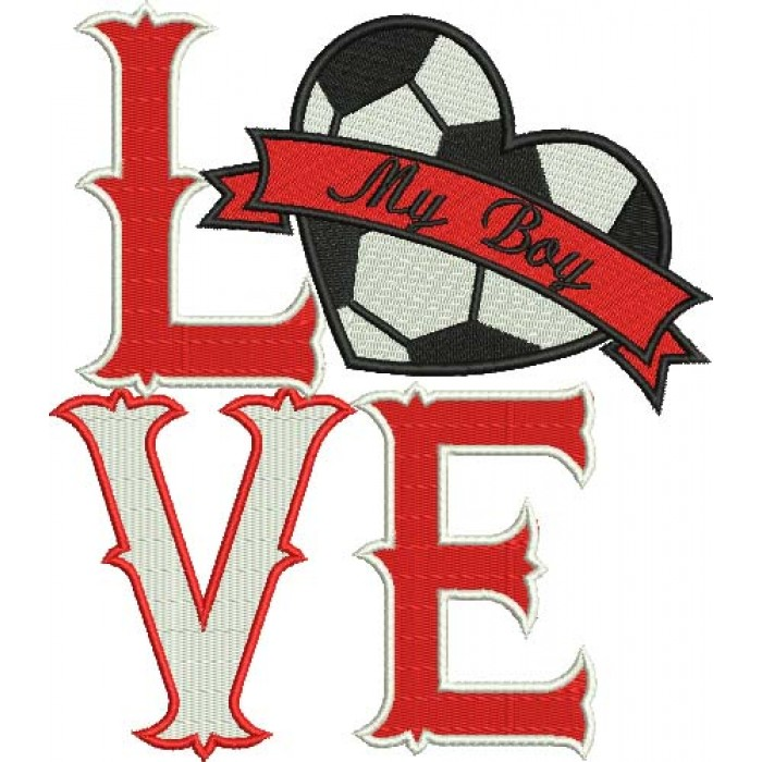 Love My Boy Soccer Heart Sports Filled Machine Embroidery Digitized Design Pattern