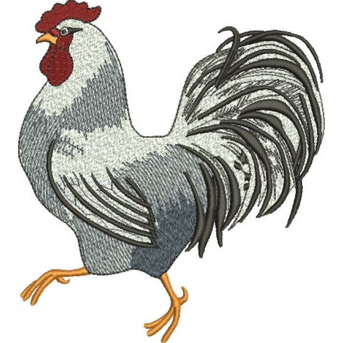 Rooster Filled Machine Embroidery Digitized Design Pattern