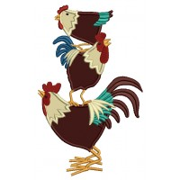 Three Roosters Farm Applique Machine Embroidery Digitized Design Pattern