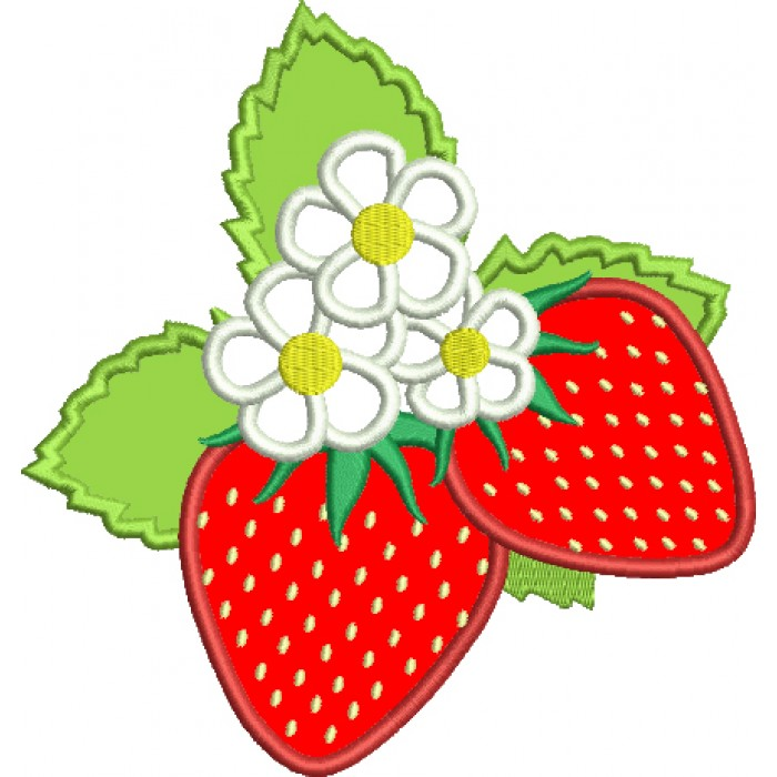 Two Strawberries Applique Machine Embroidery Digitized Design Pattern