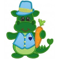 Baby Dino With a Carrot Applique Machine Embroidery Digitized Design Pattern