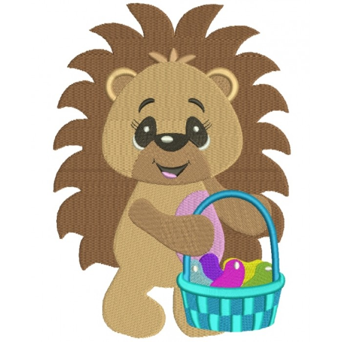 Baby Hedgehog With a Basket Filled Machine Embroidery Digitized Design Pattern