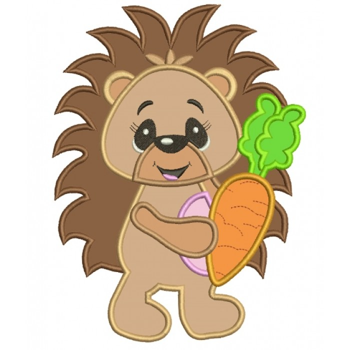 Baby Hedgehog With a Carrot Applique Machine Embroidery Digitized Design Pattern