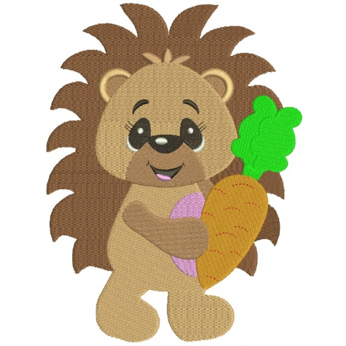 Baby Hedgehog With a Carrot Filled Machine Embroidery Digitized Design Pattern