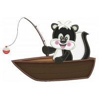 Cute Fishing Baby Skunk Applique Machine Embroidery Digitized Design Pattern