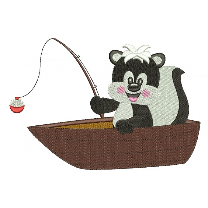 Cute Fishing Baby Skunk Filled Machine Embroidery Digitized Design Pattern