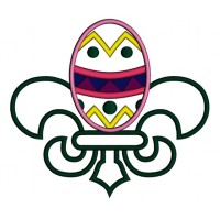Fleur de lis Easter Egg Applique Machine Embroidery Digitized Design Pattern
