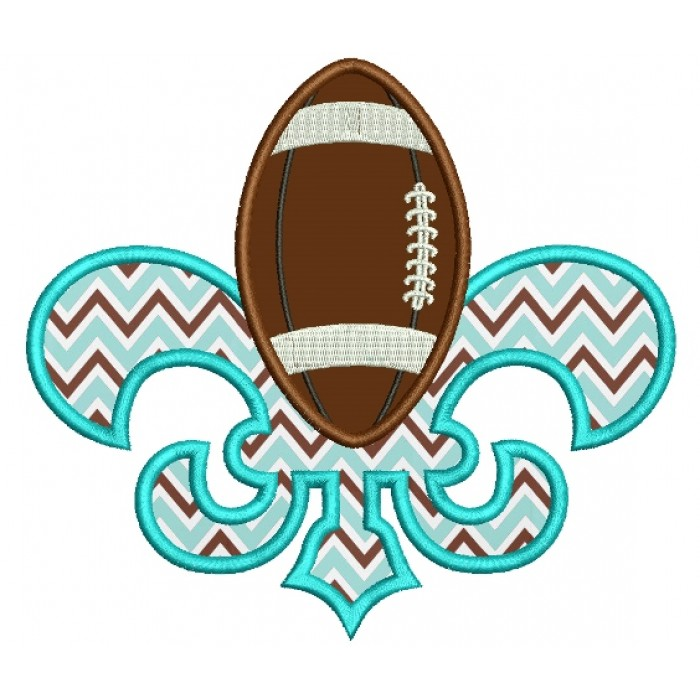 Fleur de lis Easter Footlball Applique Machine Embroidery Digitized Design Pattern