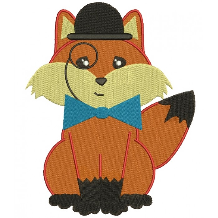 Fox with a Bow and a Hat Filled Machine Embroidery Digitized Design Pattern