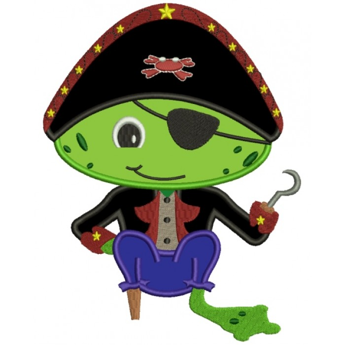 Froggy Frog Pirate with a Eye Patch and a Hook Applique Machine Embroidery Digitized Design Pattern