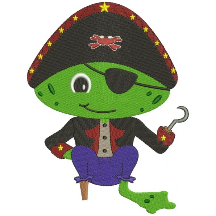Froggy Frog Pirate with a Eye Patch and a Hook Filled Machine Embroidery Digitized Design Pattern