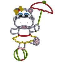 Girl Hippo on a ball with an Umbrella Applique Machine Embroidery Digitized Design Pattern