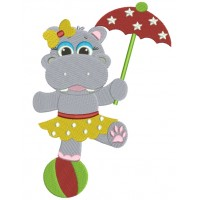 Girl Hippo on a ball with an Umbrella Filled Machine Embroidery Digitized Design Pattern