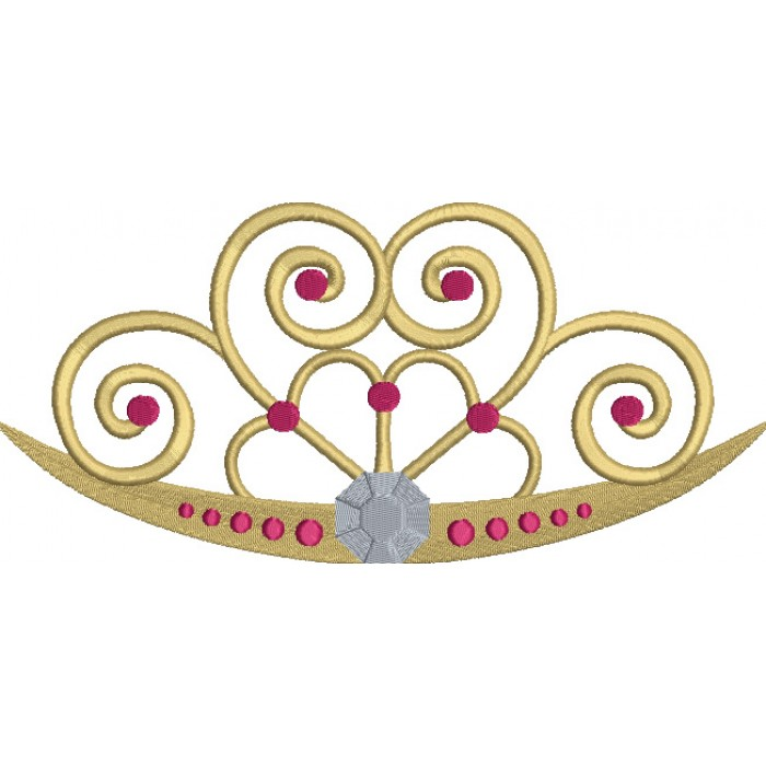 Heart Shaped Princess Tiara Filled Machine Embroidery Digitized Design Pattern