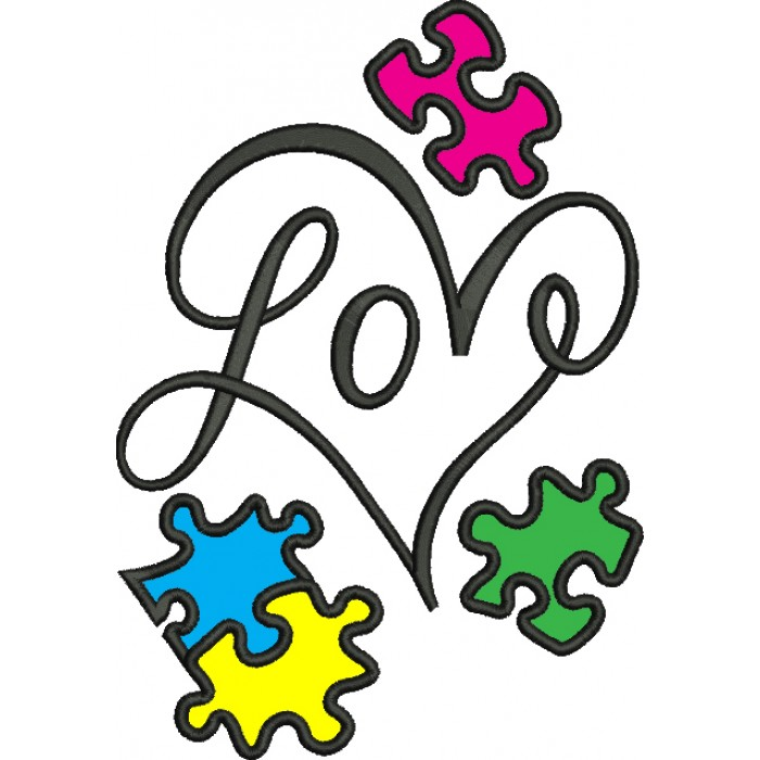 Love Heart Autism Awareness Puzzle Applique Machine Embroidery ...