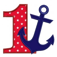 Number One Birthday Anchor Marine Applique Machine Embroidery Digitized Design Pattern