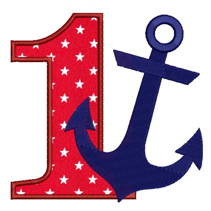 Number One Birthday Anchor Marine Filled Machine Embroidery Digitized Design Pattern