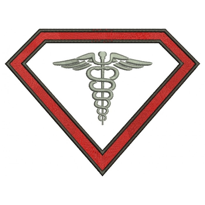 Super Nurse Caduceus Filled Machine Embroidery Digitized Design Pattern