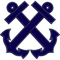 Two Anchors Marine Applique Machine Embroidery Digitized Design Pattern