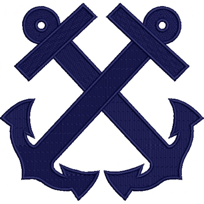 Two Anchors Marine Filled Machine Embroidery Digitized Design Pattern