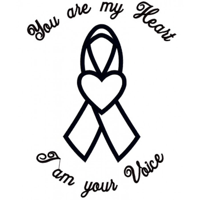 You are my heart I am your voice Autism Awareness Ribbon with heart  Applique Machine Embroidery Digitized Design Pattern