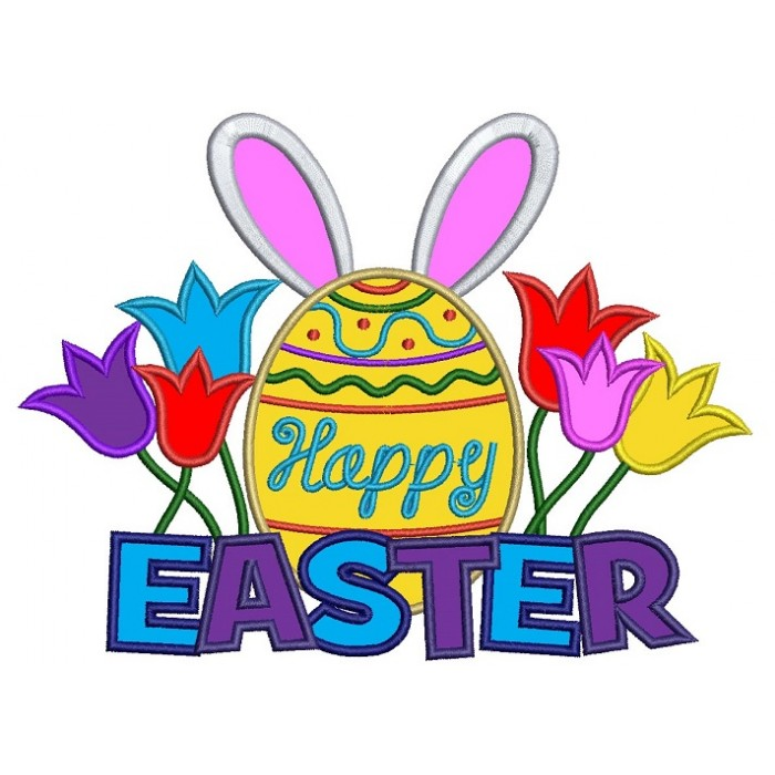 Happy Easter Egg With Bunny Ears Applique Machine Embroidery Digitized  Design Pattern