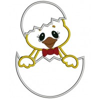 Little Chick Hatching From The Egg Applique Machine Embroidery Digitized Design Pattern