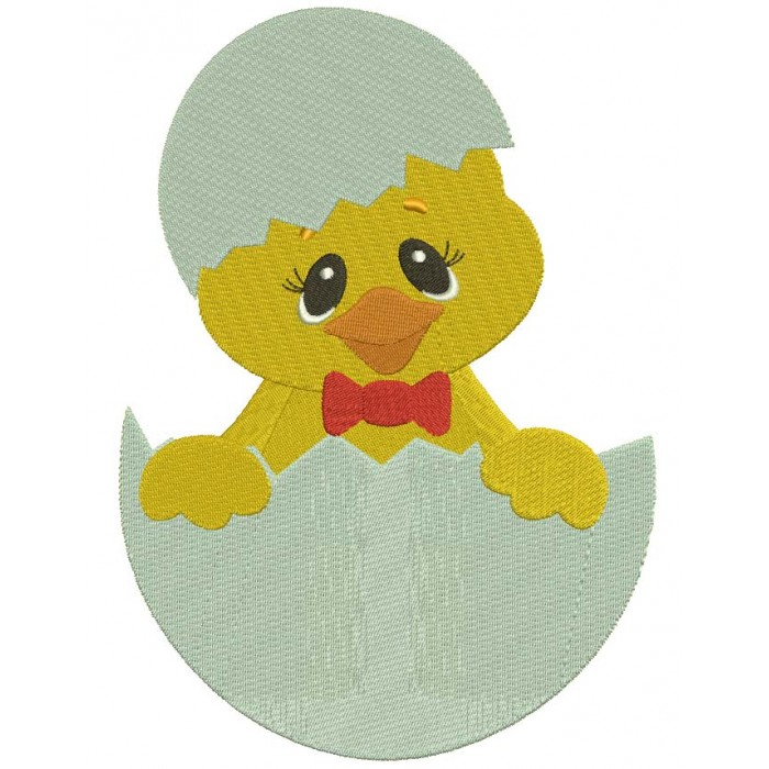 Little Chick Hatching From The Egg Filled Machine Embroidery Digitized Design Pattern