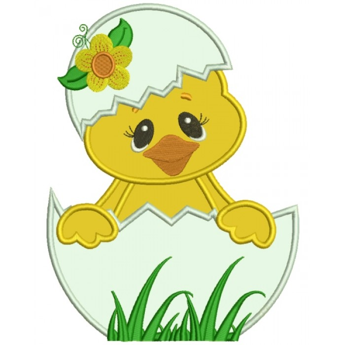 Little Chick Hatching From The Egg With Flower Applique Machine Embroidery Digitized Design Pattern