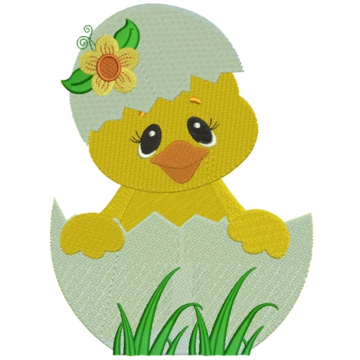 Little Chick Hatching From The Egg With Flower Filled Machine Embroidery Digitized Design Pattern