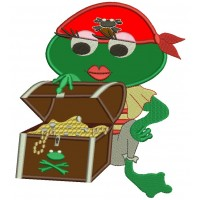 Pirate Girl Frog With a Treasure Chest Applique Machine Embroidery Digitized Design Pattern