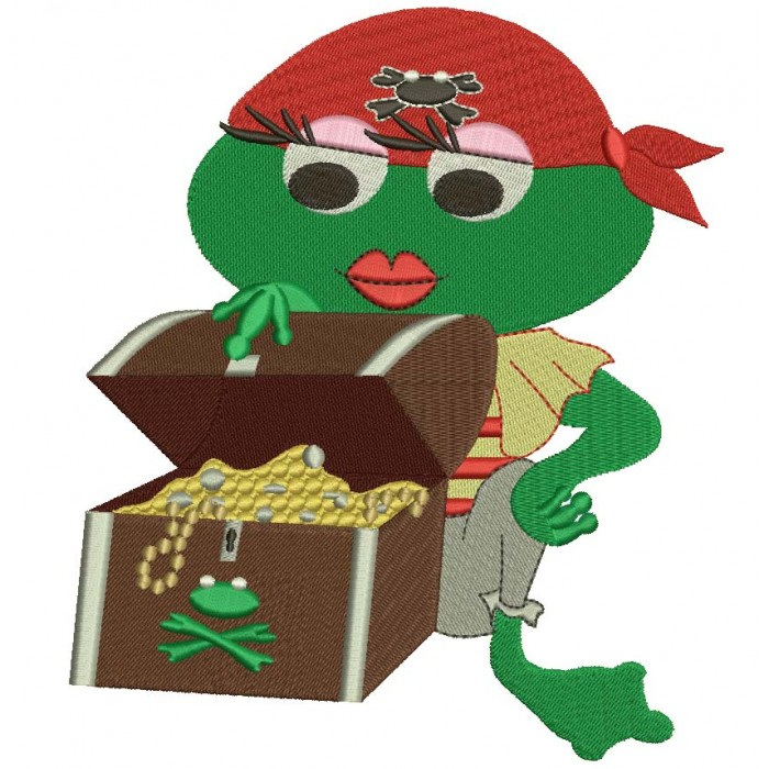 Pirate Girl Frog With a Treasure Chest Filled Machine Embroidery Digitized Design Pattern