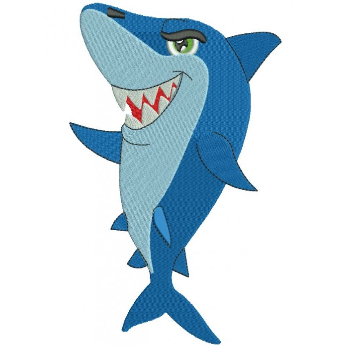 Shark Filled  Machine Embroidery Digitized Design Pattern