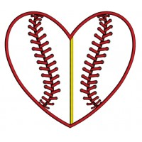 Baseball Heart Divided by line Applique Machine Embroidery Digitized Design Pattern