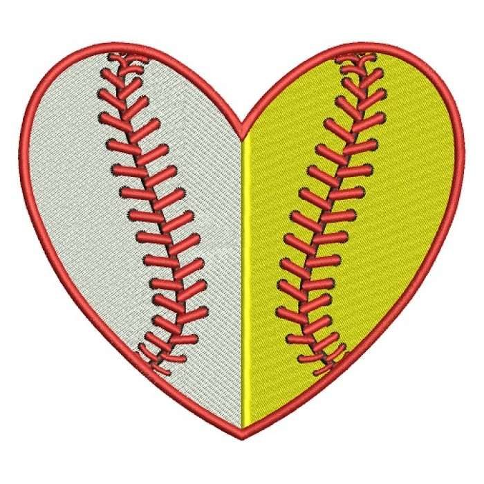 Baseball Heart Divided by line Filled Machine Embroidery Digitized Design Pattern