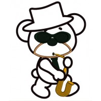 Cool Jazz Bear With Saxophone Applique Machine Embroidery Digitized Design Pattern