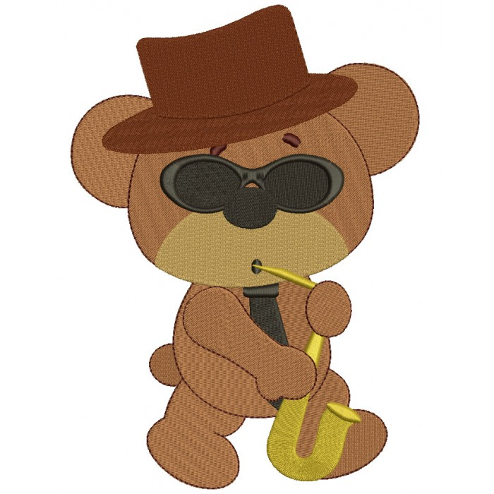 Cool Jazz Bear With Saxophone Filled Machine Embroidery Digitized Design Pattern