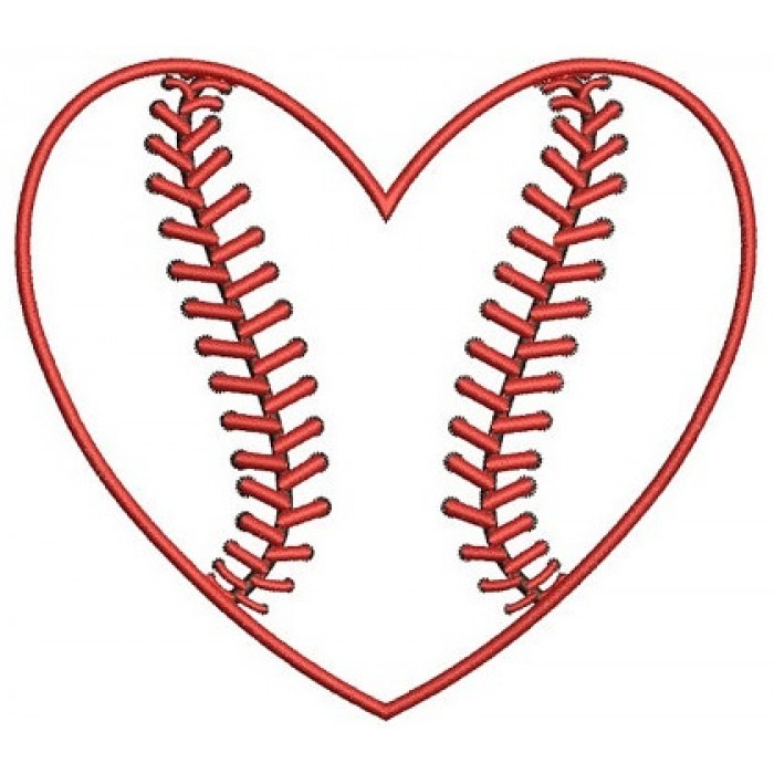 Heart Baseball Machine Embroidery Applique Digitized Design Pattern - Instant Download