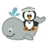 Penguin on a Whale Applique Machine Embroidery Digitized Design Pattern