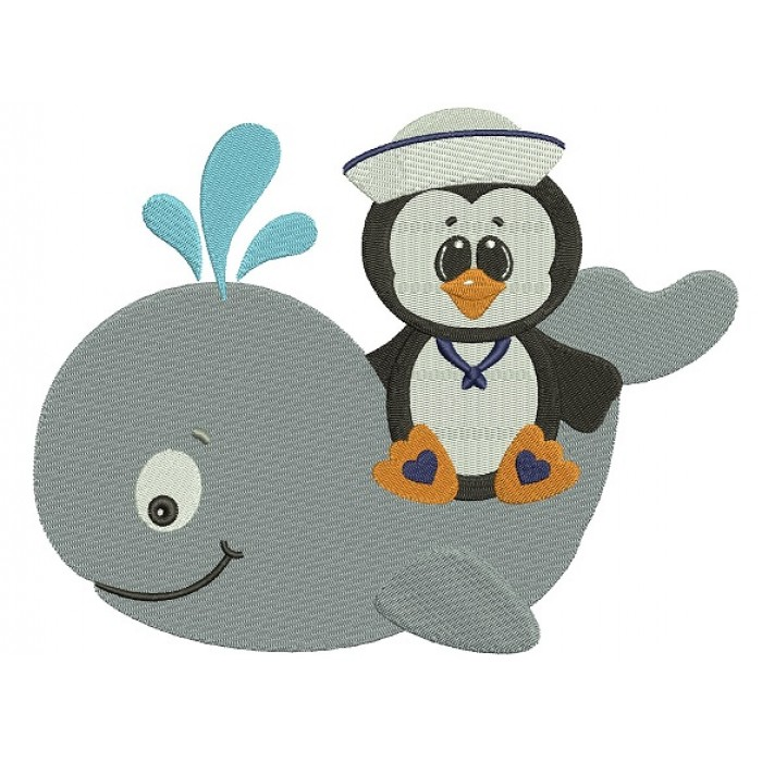 Penguin on a Whale Filled Machine Embroidery Digitized Design Pattern